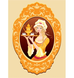 Oval Portrait of Beautiful blonde girl vector image vector image
