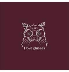 Portrait Cat in Big Glasses vector image