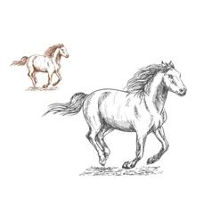 Running horses pencil sketch portrait vector image vector image