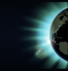 world globe eclipse sunrise concept vector image vector image