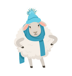 cute white sheep character wearing blue knitted vector image