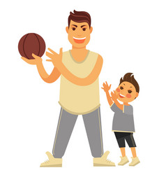 father plays basketball with young son in vector image vector image