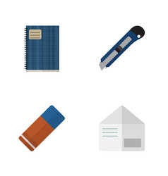 flat icon stationery set of letter copybook vector image