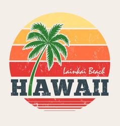hawaii lanikai beach tee print with palm tree vector image vector image