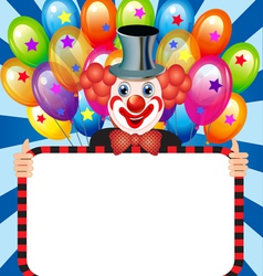 merry clown with balloons holding vector image vector image