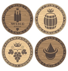 Wood barrels with wine on white background vector image