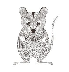 Zentangle brown Possum totem for adult anti vector image