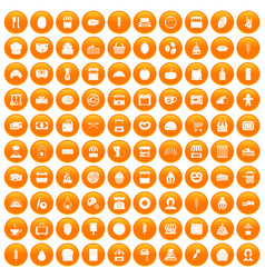 100 bakery icons set orange vector image