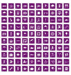 100 umbrella icons set grunge purple vector