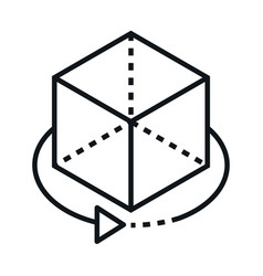 360 degree view cube 3d object linear style icon vector