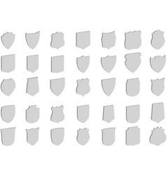 3d shields set 35 shields vector image