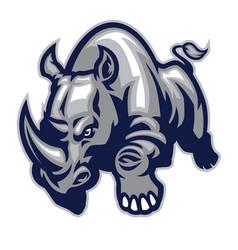 angry charging rhino vector image