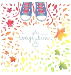 Autumn with motley leaves and boots vector