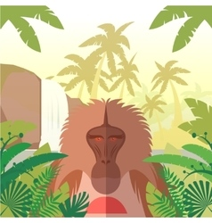 Baboon on jungle background vector