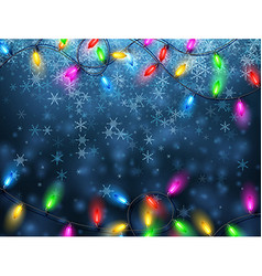 Background with Christmas garland and snow vector