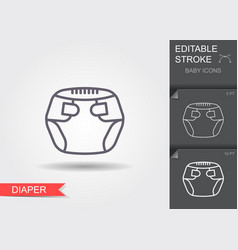 badiapers line icon with editable stroke with vector image