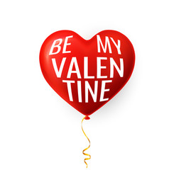 be my valentine happy valentines day red helium vector image
