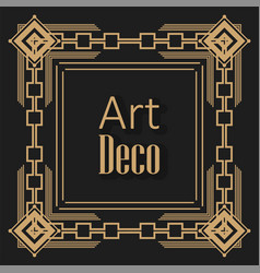 black background art deco frames vector image