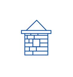 brick house line icon concept brick house flat vector image