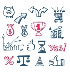 Business doodles icons set vector