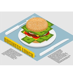 Business lunch infographics hamburger with money vector