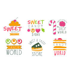 candy world logo templates set sweet and tasty vector image