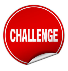 Challenge round red sticker isolated on white vector