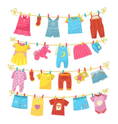 Children clothes on rope vector