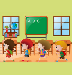 Children walking in classroom vector