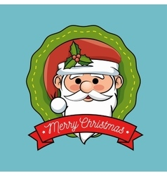 Christmas label santa claus design vector