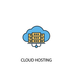 cloud hosting concept 2 colored line icon simple vector image