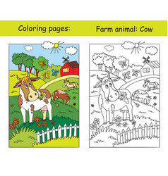 coloring and color for children cow vector image
