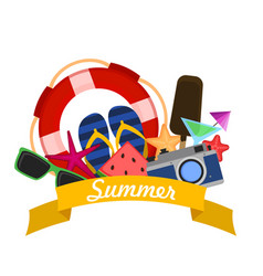 concept of summer vacation with flat modern icons vector image
