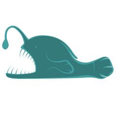 Cute anglerfish in teal vector
