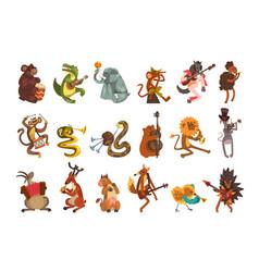 Cute cartoon animal characters playing various vector