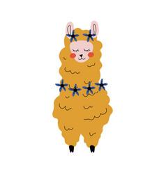 cute llama adorable alpaca animal character front vector image