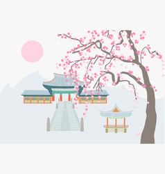 drawing a buddhist temple on a background of vector image