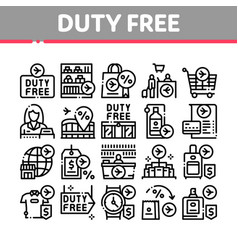 Duty free shop store collection icons set vector