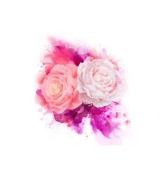 elegance flowers bouquet pink color roses vector image