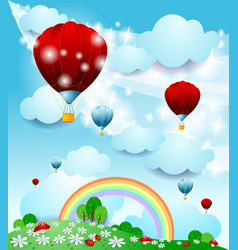 Fantasy landscape with hot air balloon vector