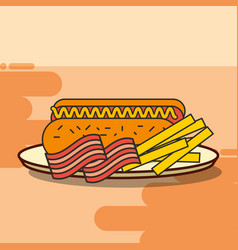 Fast food hot dog french fries and bacon vector