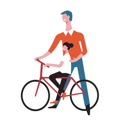 Father and daughter child on bicycle vector