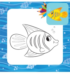 Fish coloring page vector