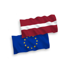 flags of latvia and european union on a white vector image