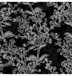 Floral monochrome ornament with branches vector image