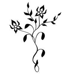 Floral tracery - black vector