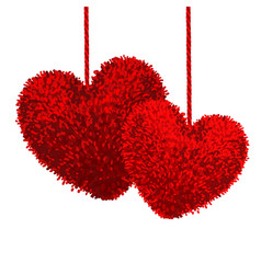 fluffy pom-poms in the shape of a heart vector image