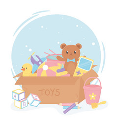 Full cardboard box with cartoon kids toys vector