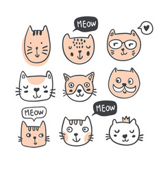 funny doodle outline cats faces collection vector image