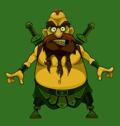 Furious cartoon medieval bearded warrior with vector